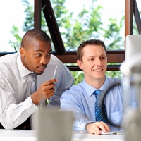 Two businessmen at computer